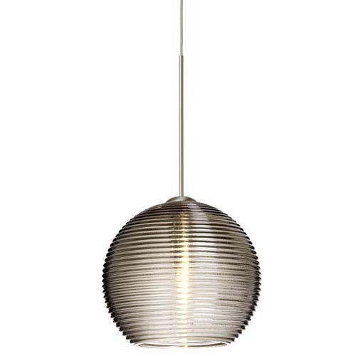 Besa Lighting Kristall Satin Nickel LED Mini Pendant with Flat Canopy and Smoke Glass