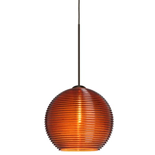 Besa Lighting Kristall Bronze LED Mini Pendant with Flat Canopy and Amber Glass