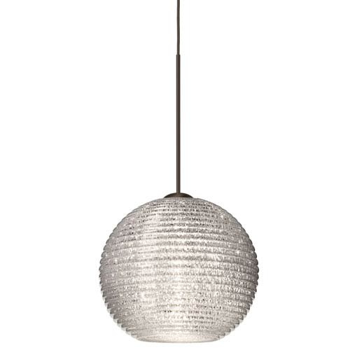 Kristall Bronze Halogen Mini Pendant with Flat Canopy and Glitter Glass
