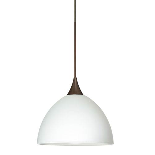 Besa Lighting Brella Bronze LED Mini Pendant with Flat Canopy and White Glass