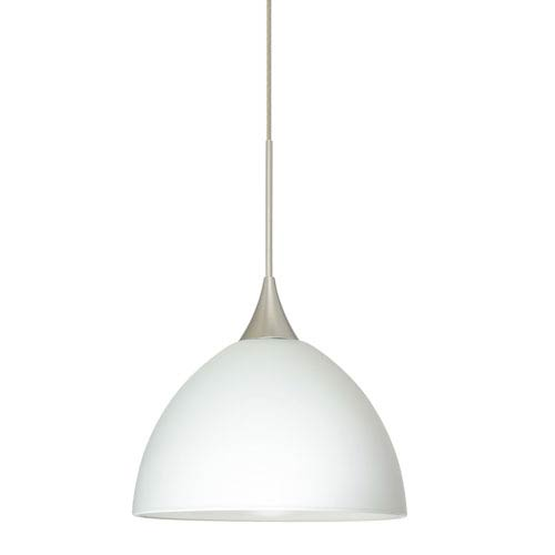 Brella Satin Nickel LED Mini Pendant with Flat Canopy and White Glass