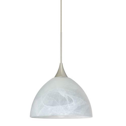 Besa Lighting Brella Satin Nickel LED Mini Pendant with Flat Canopy and Marble Glass