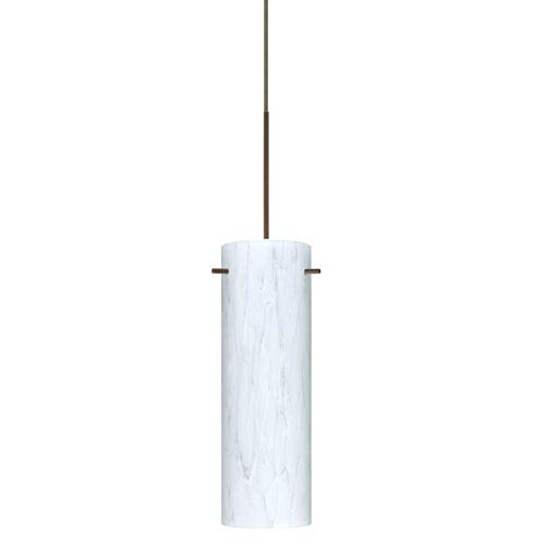 Besa Lighting Copa Bronze Halogen Mini Pendant with Flat Canopy and Carrera Glass