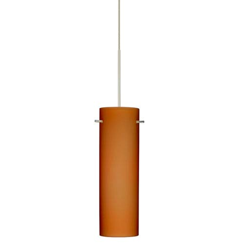 Besa Lighting Copa Satin Nickel LED Mini Pendant with Flat Canopy and Amber Matte Glass