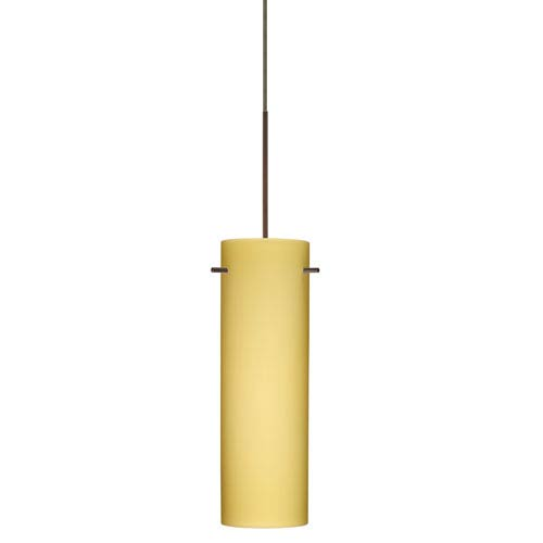 Besa Lighting Copa Bronze Halogen Mini Pendant with Flat Canopy and Vanilla Matte Glass