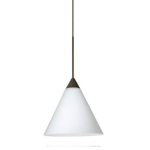 Kani Bronze LED Mini Pendant with Flat Canopy and Opal Matte Glass