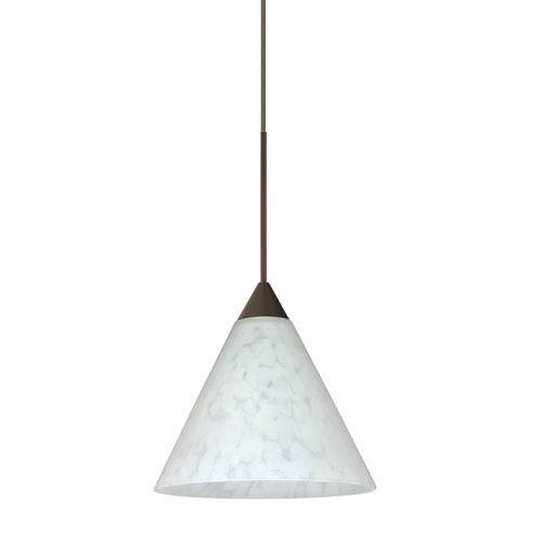 Besa Lighting Kani Bronze LED Mini Pendant with Flat Canopy and Carrera Glass