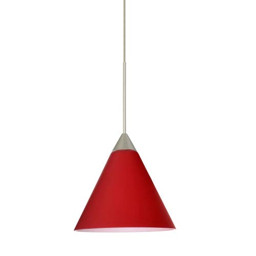 Kani Satin Nickel LED Mini Pendant with Flat Canopy and Ruby Matte Glass