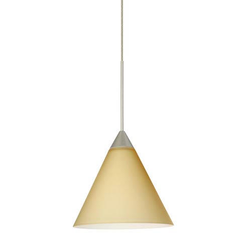 Besa Lighting Kani Satin Nickel LED Mini Pendant with Flat Canopy and Vanilla Matte Glass