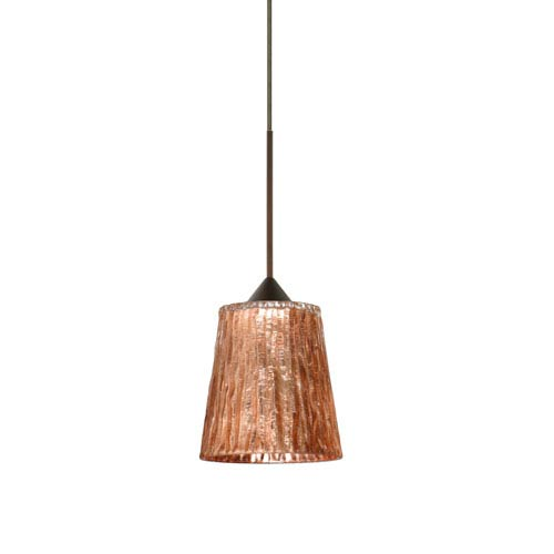 Besa Lighting Nico Bronze Halogen Mini Pendant with Flat Canopy and Stone Copper Foil Glass