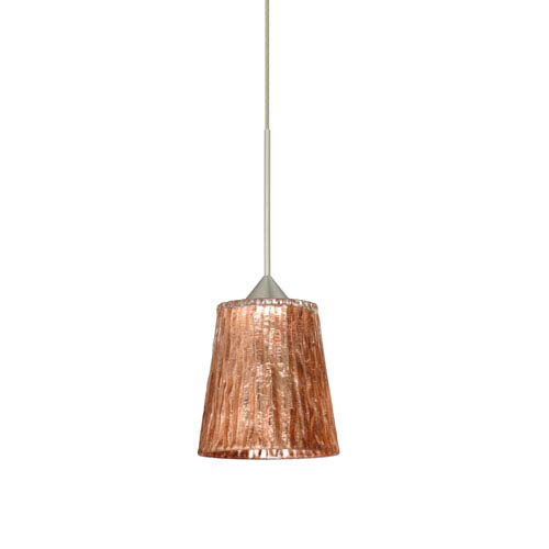 Besa Lighting Nico Satin Nickel Halogen Mini Pendant with Flat Canopy and Stone Copper Foil Glass