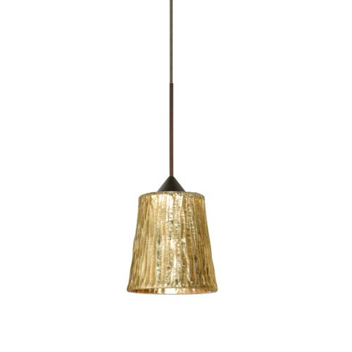 Besa Lighting Nico Bronze LED Mini Pendant with Flat Canopy and Stone Gold Foil Glass