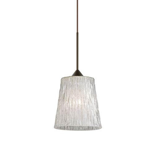 Besa Lighting Nico Bronze Halogen Mini Pendant with Flat Canopy and Stone Glitter Glass