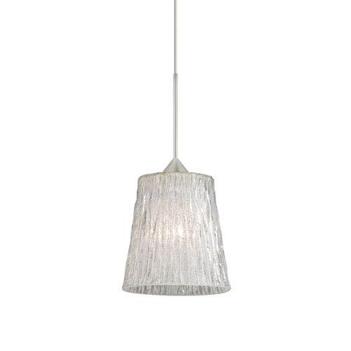 Nico Satin Nickel LED Mini Pendant with Flat Canopy and Stone Glitter Glass