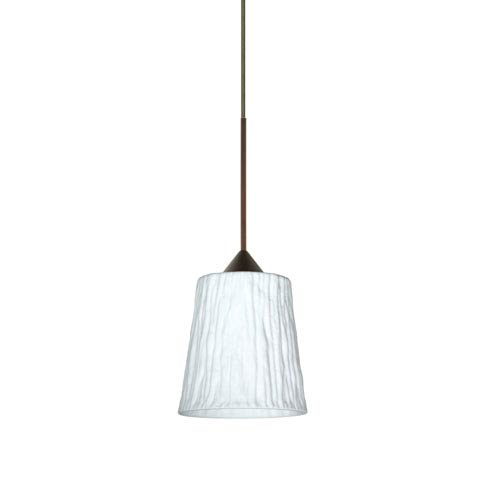 Besa Lighting Nico Bronze LED Mini Pendant with Flat Canopy and Opal Stone Glass