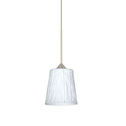 Nico Satin Nickel LED Mini Pendant with Flat Canopy and Opal Stone Glass