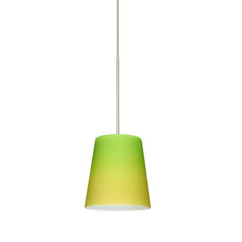 Besa Lighting Canto Satin Nickel Halogen Mini Pendant with Flat Canopy and Bicolor Green and Yellow Glass