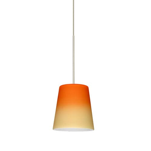 Besa Lighting Canto Satin Nickel LED Mini Pendant with Flat Canopy and Bicolor Orange and Pina Glass