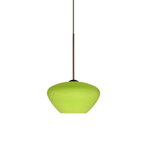 Peri Bronze LED Mini Pendant with Flat Canopy and Lime Glass