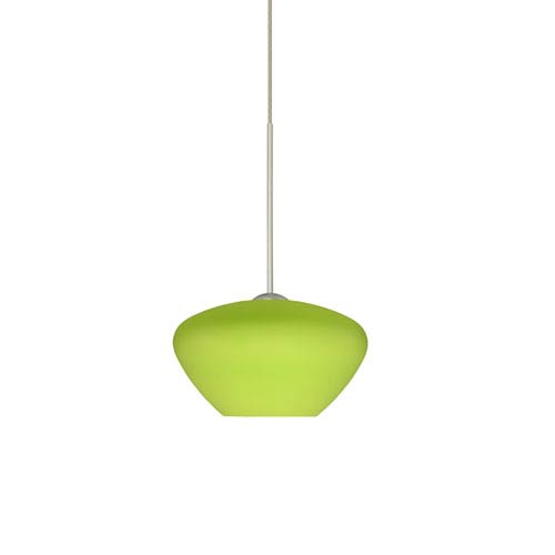 Peri Satin Nickel LED Mini Pendant with Flat Canopy and Lime Glass