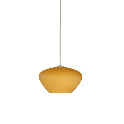 Besa Lighting Peri Satin Nickel LED Mini Pendant with Flat Canopy and Amber Matte Glass
