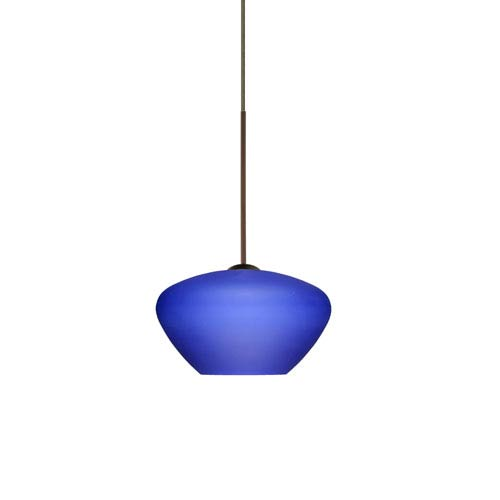 Besa Lighting Peri Bronze LED Mini Pendant with Flat Canopy and Blue Matte Glass