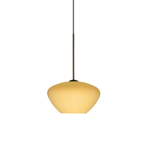 Peri Bronze LED Mini Pendant with Flat Canopy and Vanilla Matte Glass