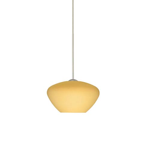 Besa Lighting Peri Satin Nickel Halogen Mini Pendant with Flat Canopy and Vanilla Matte Glass