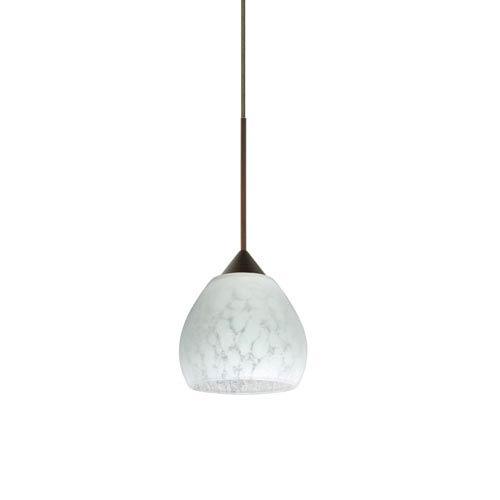 Besa Lighting Tay Tay Bronze LED Mini Pendant with Flat Canopy and Carrera Glass