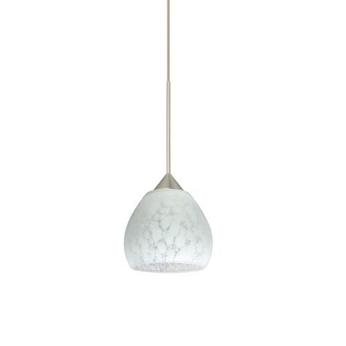 Tay Tay Satin Nickel LED Mini Pendant with Flat Canopy and Carrera Glass