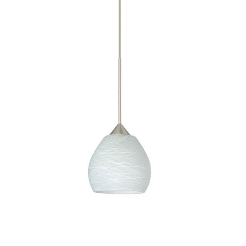 Besa Lighting Tay Tay Satin Nickel LED Mini Pendant with Flat Canopy and Cocoon Glass