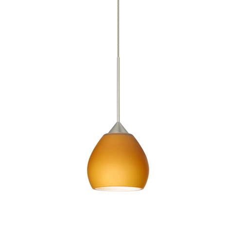 Besa Lighting Tay Tay Satin Nickel LED Mini Pendant with Flat Canopy and Amber Matte Glass