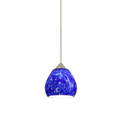 Tay Tay Satin Nickel Halogen Mini Pendant with Flat Canopy and Blue Cloud Glass