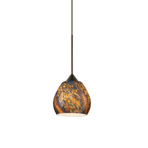 Besa Lighting Tay Tay Bronze Halogen Mini Pendant with Flat Canopy and Ceylon Glass