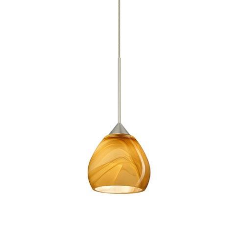 Besa Lighting Tay Tay Satin Nickel Halogen Mini Pendant with Flat Canopy and Honey Glass