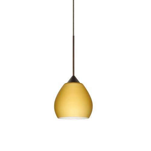 Besa Lighting Tay Tay Bronze LED Mini Pendant with Flat Canopy and Vanilla Matte Glass