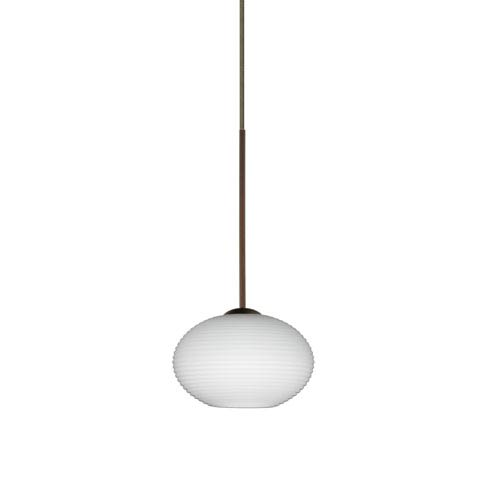 Besa Lighting Lasso Bronze LED Mini Pendant with Flat Canopy and Opal Matte Glass