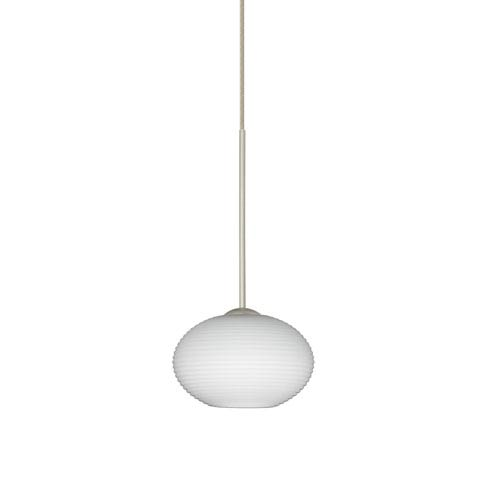 Besa Lighting Lasso Satin Nickel LED Mini Pendant with Flat Canopy and Opal Matte Glass