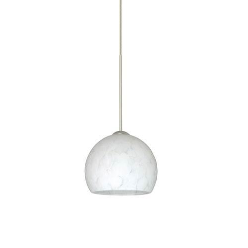 Besa Lighting Palla Satin Nickel Halogen Mini Pendant with Flat Canopy and Carrera Glass