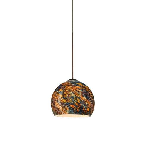 Besa Lighting Palla Bronze LED Mini Pendant with Flat Canopy and Ceylon Glass