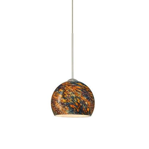 Besa Lighting Palla Satin Nickel LED Mini Pendant with Flat Canopy and Ceylon Glass