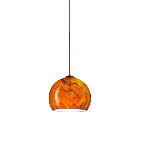 Besa Lighting Palla Bronze LED Mini Pendant with Flat Canopy and Habanero Glass