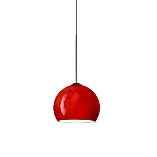 Besa Lighting Palla Bronze LED Mini Pendant with Flat Canopy and Magma Glass