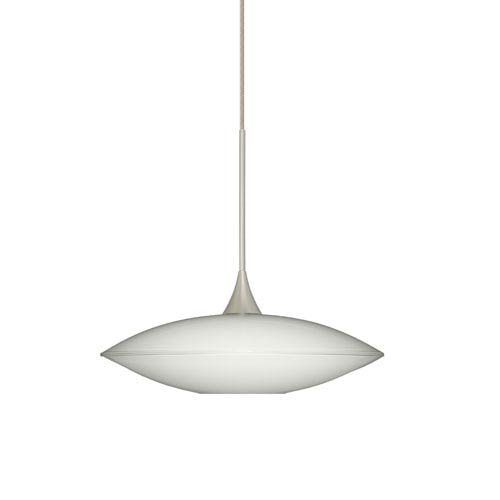 Besa Lighting Spazio Satin Nickel LED Mini Pendant with Flat Canopy and Opal Glossy Glass