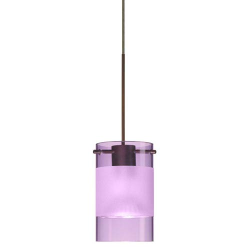 Scope Bronze LED Mini Pendant with Flat Canopy and Amethyst and Frost Glass