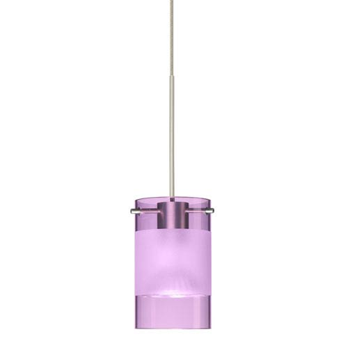 Scope Satin Nickel LED Mini Pendant with Flat Canopy and Amethyst and Frost Glass