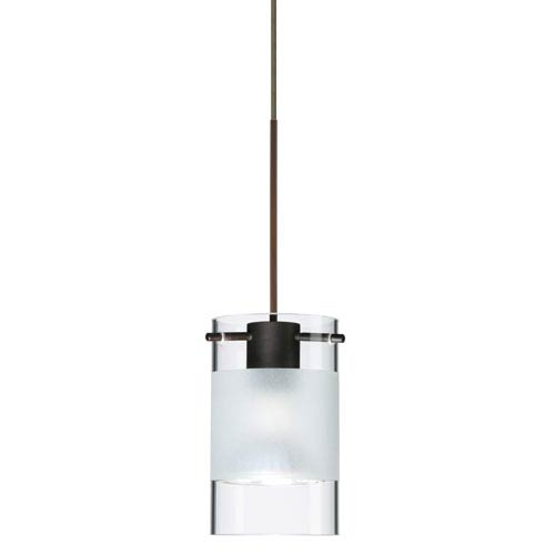 Besa Lighting Scope Bronze Halogen Mini Pendant with Flat Canopy and Clear and Frost Glass