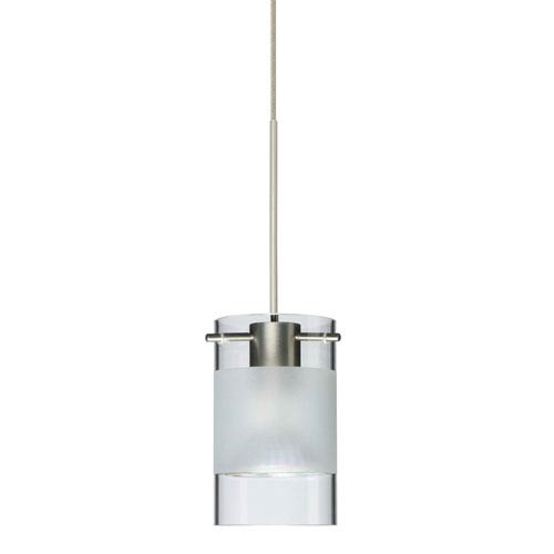 Scope Satin Nickel Halogen Mini Pendant with Flat Canopy and Clear and Frost Glass