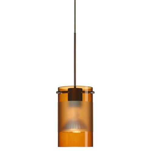 Scope Bronze Halogen Mini Pendant with Flat Canopy and Armagnac and Frost Glass