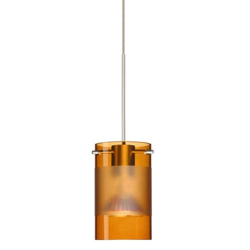 Scope Satin Nickel Halogen Mini Pendant with Flat Canopy and Armagnac and Frost Glass